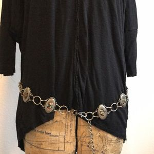 Silver linked beaded concho belt